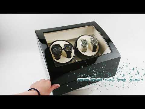 鋼琴烤漆全自動靜音4格搖錶器+6格收藏盒 開蓋停 LED氣氛燈 自動機械手錶轉錶器自動上鍊盒送禮物-輕居家8204