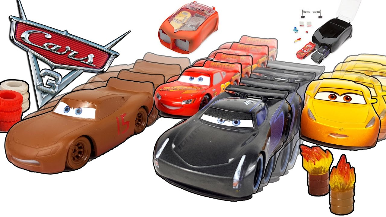 Disney cars 3 toys thunder hollow stunt and jackson storm stunt case sets video for kids youtube - Coloriage cars 3 thunder hollow ...