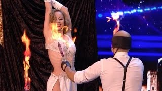 He sets the knives on fire, blindfolded, and throw it at his partner!! | Week 5 | Britain's Got