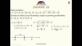 Nierówność z wartością bezwzględną i wyznaczenie zbiorów (Kurs Matura Rozszerzona cz1 eTrapez)