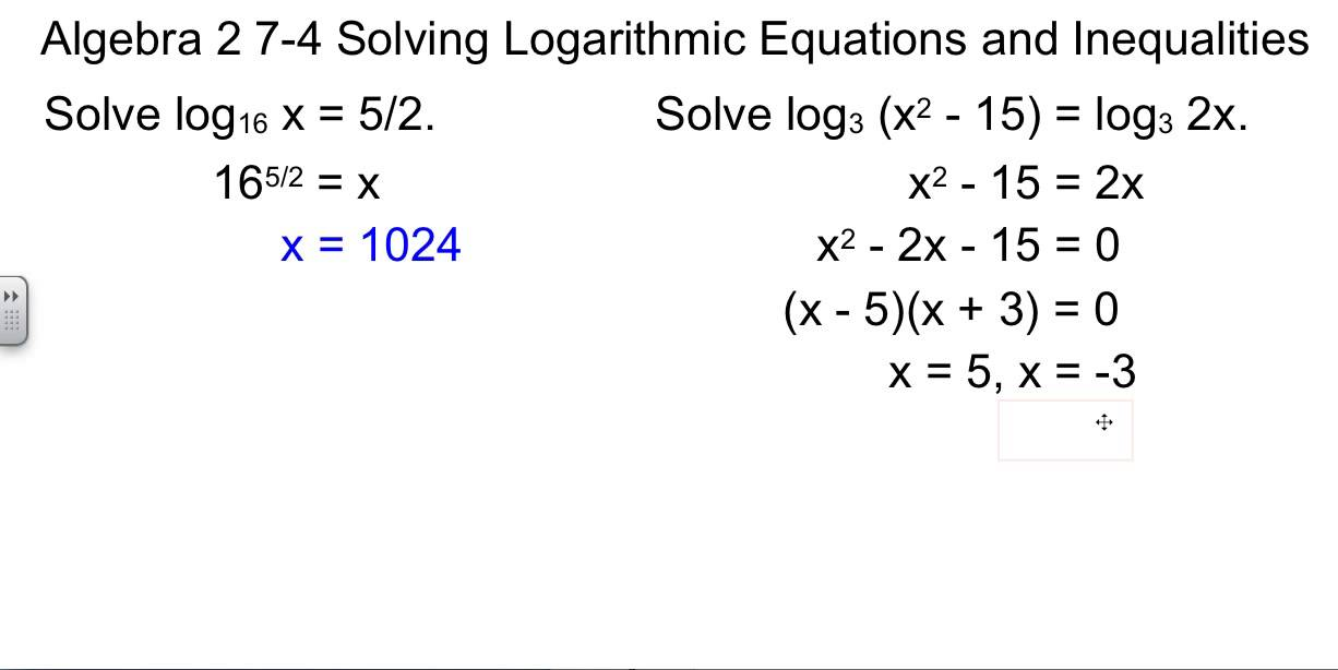 Alg 2 74 Solving Logarithmic Equations and Inequalities YouTube – Solving Log Equations Worksheet