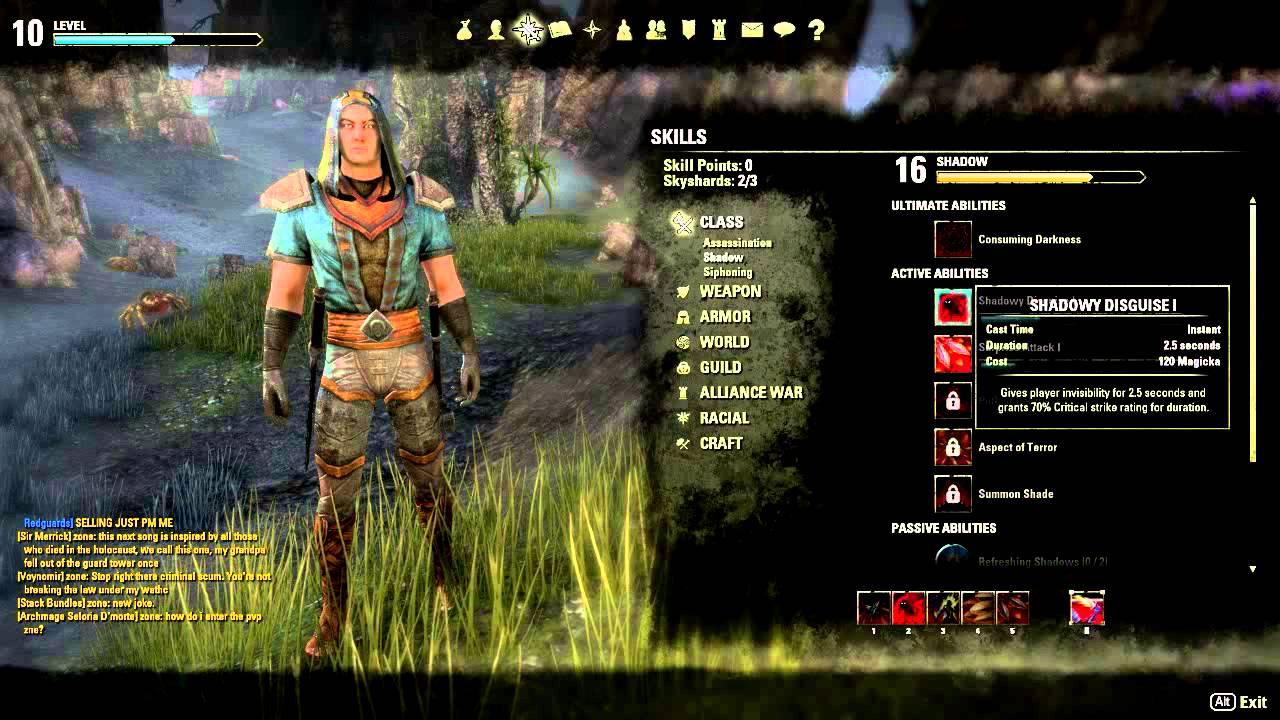 elder scrolls online assassin nightblade build youtube