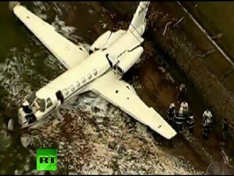 Video: Plane crashes, slides off runway in Brazil