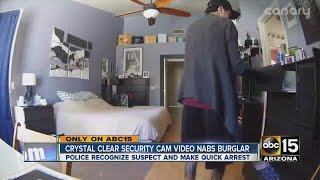 Security camera video nabs burglar in the act