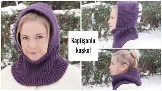 Knitting two-piece very easy Hooded scarf easy knitting models Figen Ararat