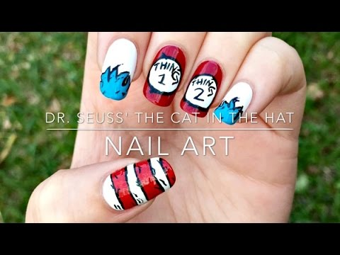 Dr. Seuss' The Cat in the Hat nail art - YouTube