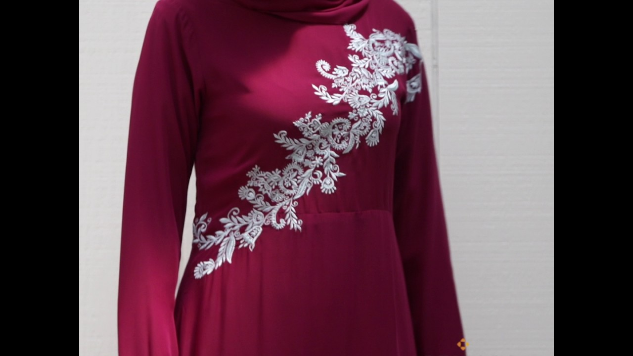 59dcfbe9e6e89 HANNA EMBROIDERED MODEST MUSLIM EVENING DRESS - PURPLE ORCHID - YouTube