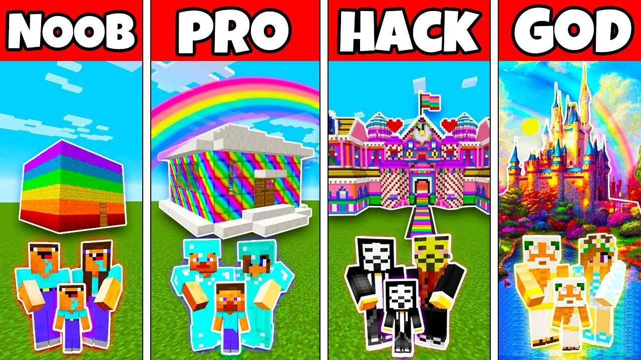 Minecraft Family Rainbow House Build Challenge Noob Vs