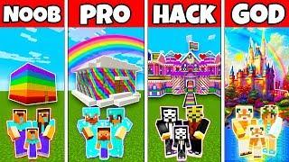 Minecraft: FAMILY RAINBOW HOUSE BUILD CHALLENGE - NOOB vs PRO vs HACKER vs GOD in Minecraft