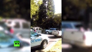 بالفيديو.. زوجة قتيل «تشارلوت» تصور لحظات إطلاق النيران عليه من قبل الشرطة