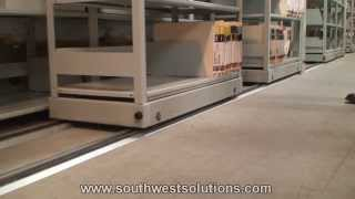 Sideways Rolling Shelves On Tracks For File Storage Boxes