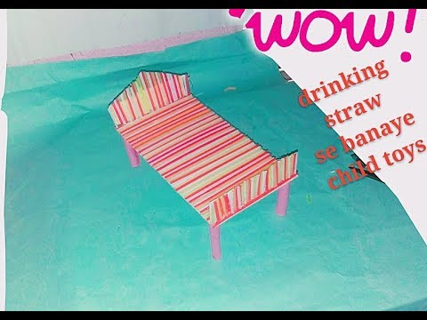 Doll bed making  of drinking straw /drinking straw bed/ DIY drinking straw doll bed