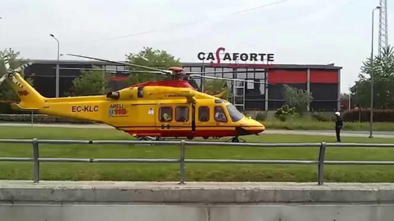 Elicottero Milano : Elicottero elisoccorso 118 milano decollo da auchan cesano boscone