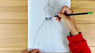 How to draw a beautiful dress easy / Girl Gown Step by Step / Ingrid Surprise Art