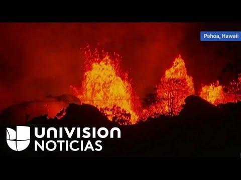 Así se ve a esta hora la impresionante erupción del volcán Kilauea en Hawaii.