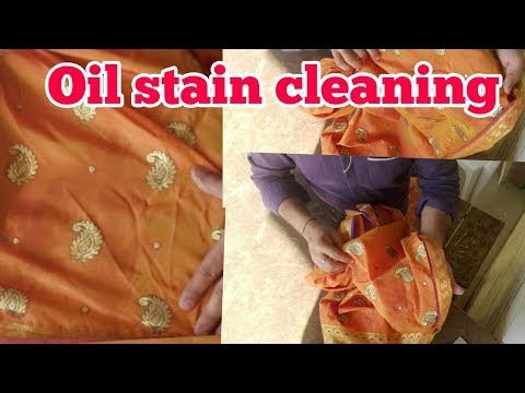 Oil stain cleaning on silk saree, dry  cleaning process, ( HINDI)