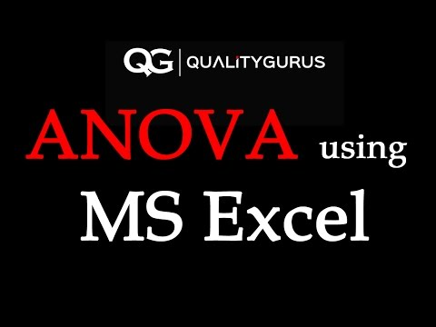 ANOVA Using MS Excel