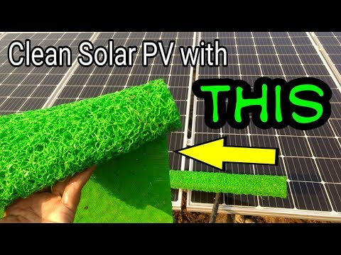 Cleaning solar panels with rubber mat material #SustainableEveryDay