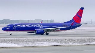 Sun Country Airlines Boeing 737-800 Landing and Takeoff at Calgary Airport
