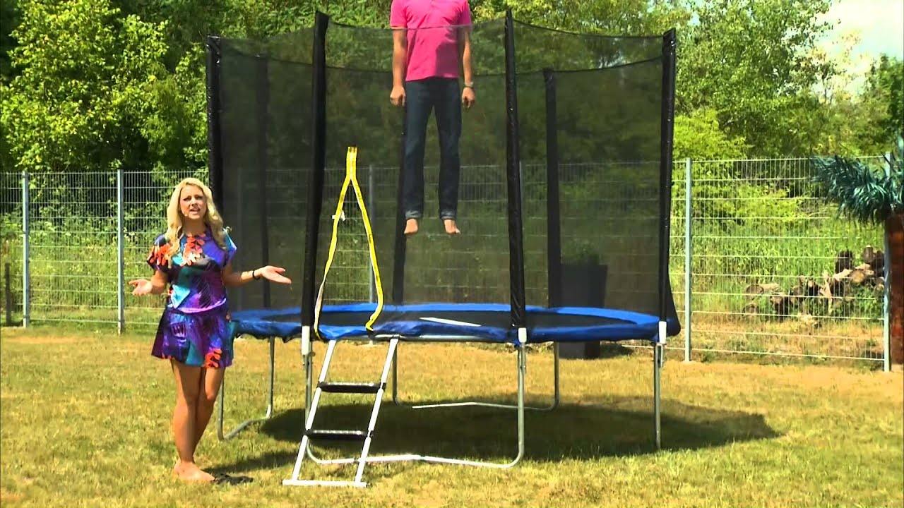 garten trampolin trn 305 mit sicherheitsnetz 305 cm youtube. Black Bedroom Furniture Sets. Home Design Ideas