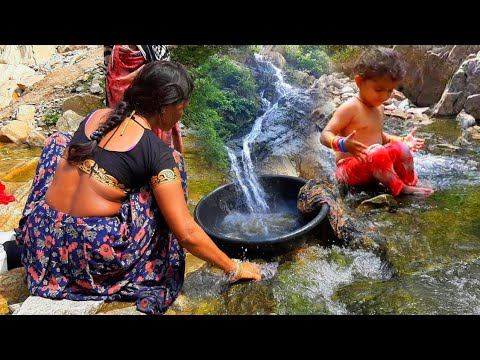 Siya Bathing in Waterfall | Village Women Washing Clothes