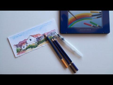 Pintando con lápices de acuarela. Painting with watercolor pencils