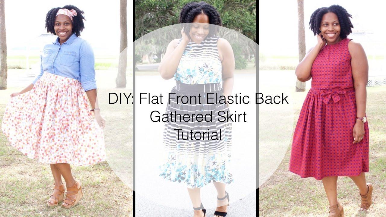 a62b1f3ef43 Flat Front Elastic Back Waistband -Gathered Skirt - YouTube