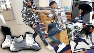 ALL WHITE YEEZYS PRANK!! (THEY GOT PISSED)
