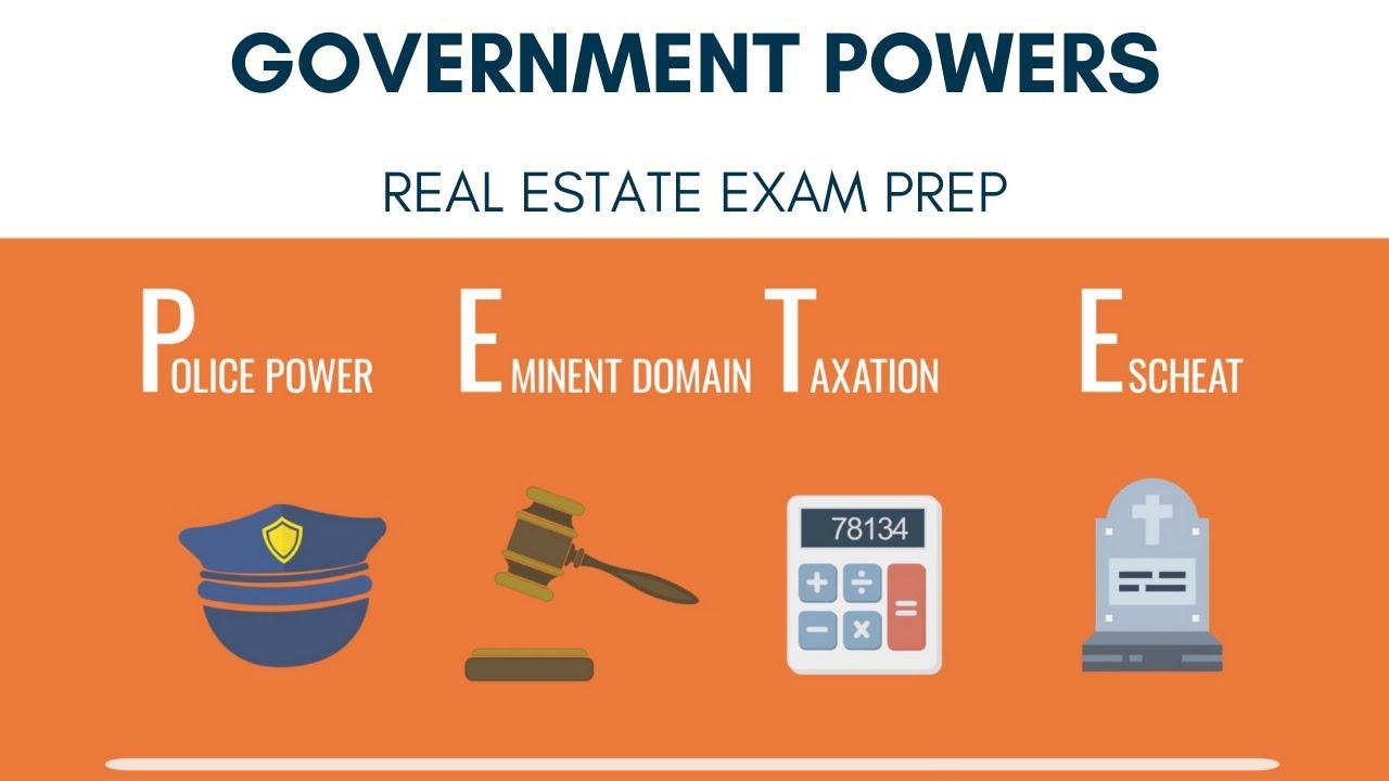 Government Powers Police Power Eminent Domain Taxation Escheat Real Estate Exam Prepagent Com