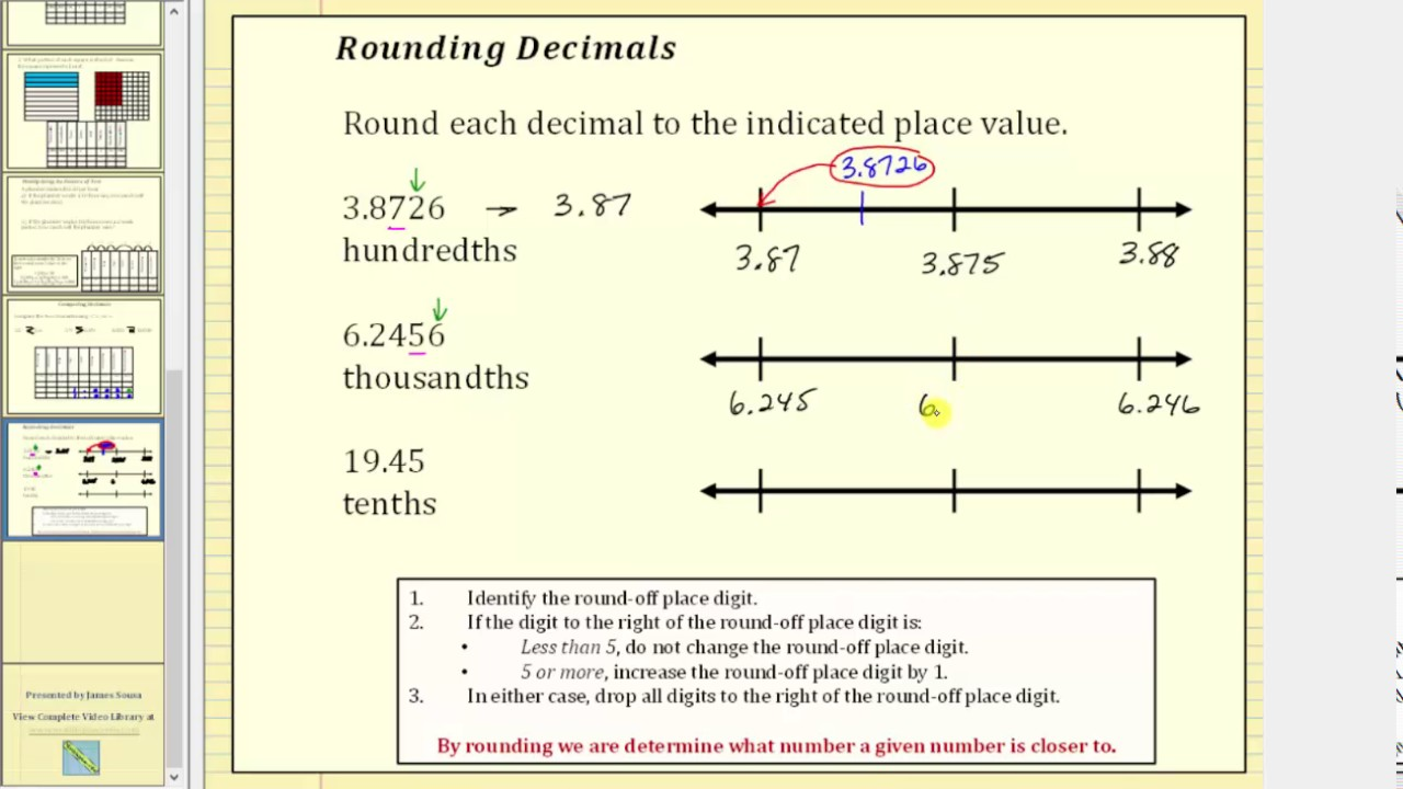 Round Decimals Using a Number Line and Formal Rules - YouTube [ 720 x 1280 Pixel ]