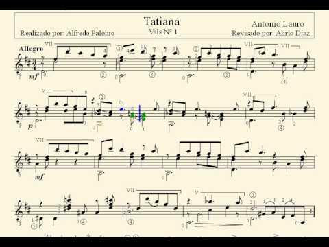 Partitura tatiana vals venezolano n 1 de antonio lauro for Partituras guitarra clasica