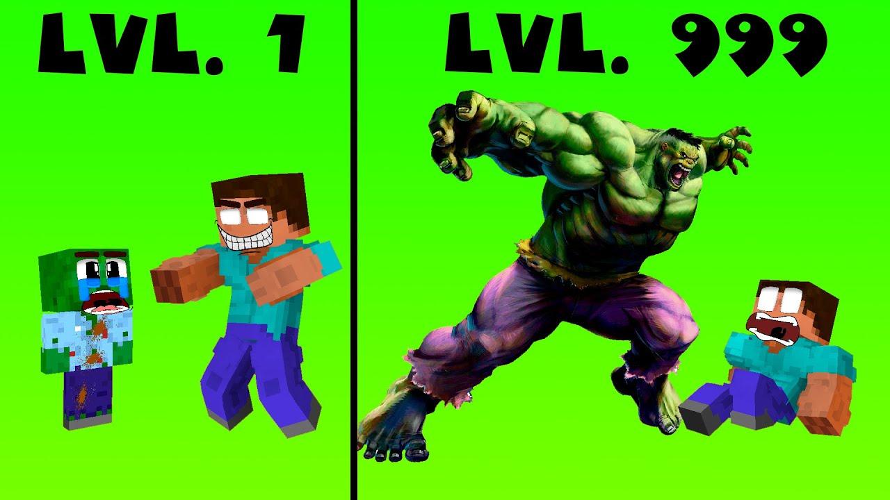 CROOK vs BOSS Lvl 1 Lvl 999 - Rich Hulk vs Poor Zombie   - Monster School