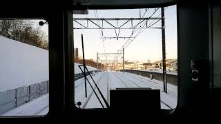 雪の日の各停 前面展望part01 京王堀之内駅→南大沢駅