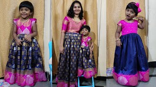 Saree Convert Into Mom And Twin Baby Dress Stitching In Telugu// Saree Into Long Dress\Mom&Baby