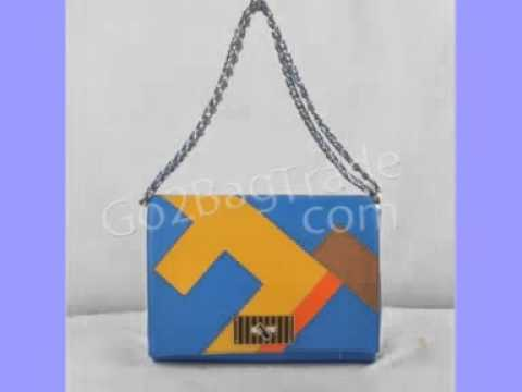 Fendi  2556 Large Pequin Stripe Claudia Bag Blue