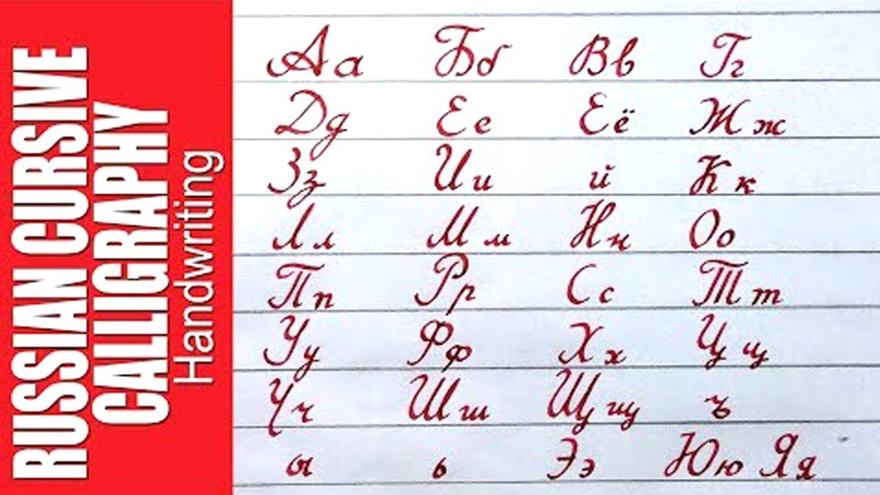 How to write Russian alphabet. cursive Russian Calligraphy.