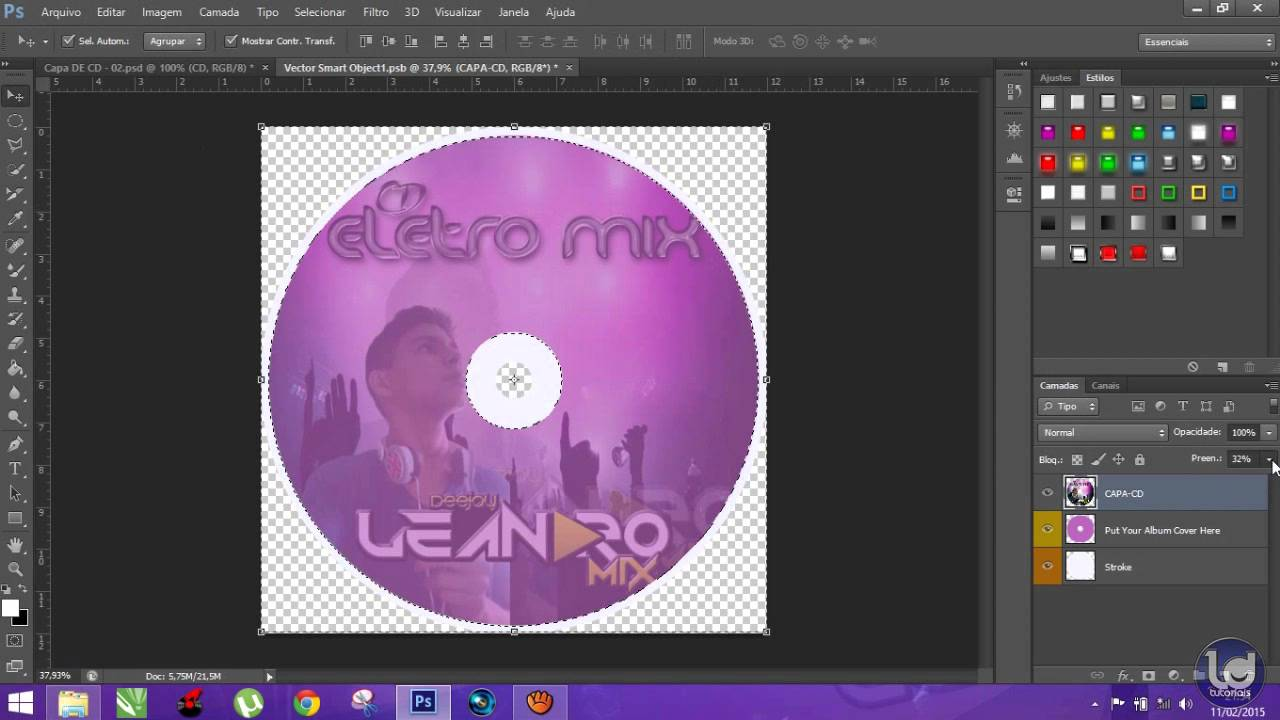 Como fazer capa de cd personalizada no photoshop cs6 - YouTube