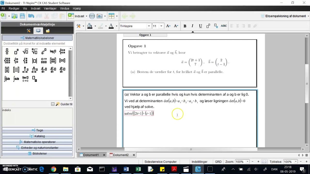 TINspire: parallelle vektorer