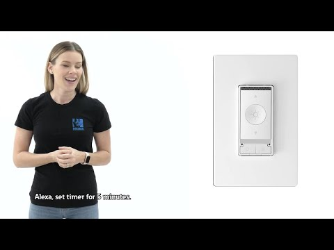 Sherry Holmes with Eaton's new Wi-Fi smart voice dimmer - CC