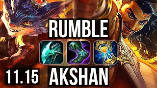 RUMBLE vs AKSHAN (TOP) | 1.9M mastery, 3/1/7, 600+ games | KR Diamond | v11.15