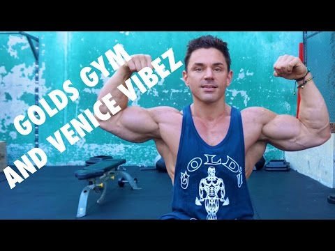 Brandon Michael training at Golds Venice   Chest   Arms