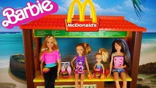 Barbie Mc Donald's Drive-Thru Playset With Barbie Skipper Chelsea dolls