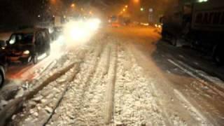 Снегопад, федеральная трасса