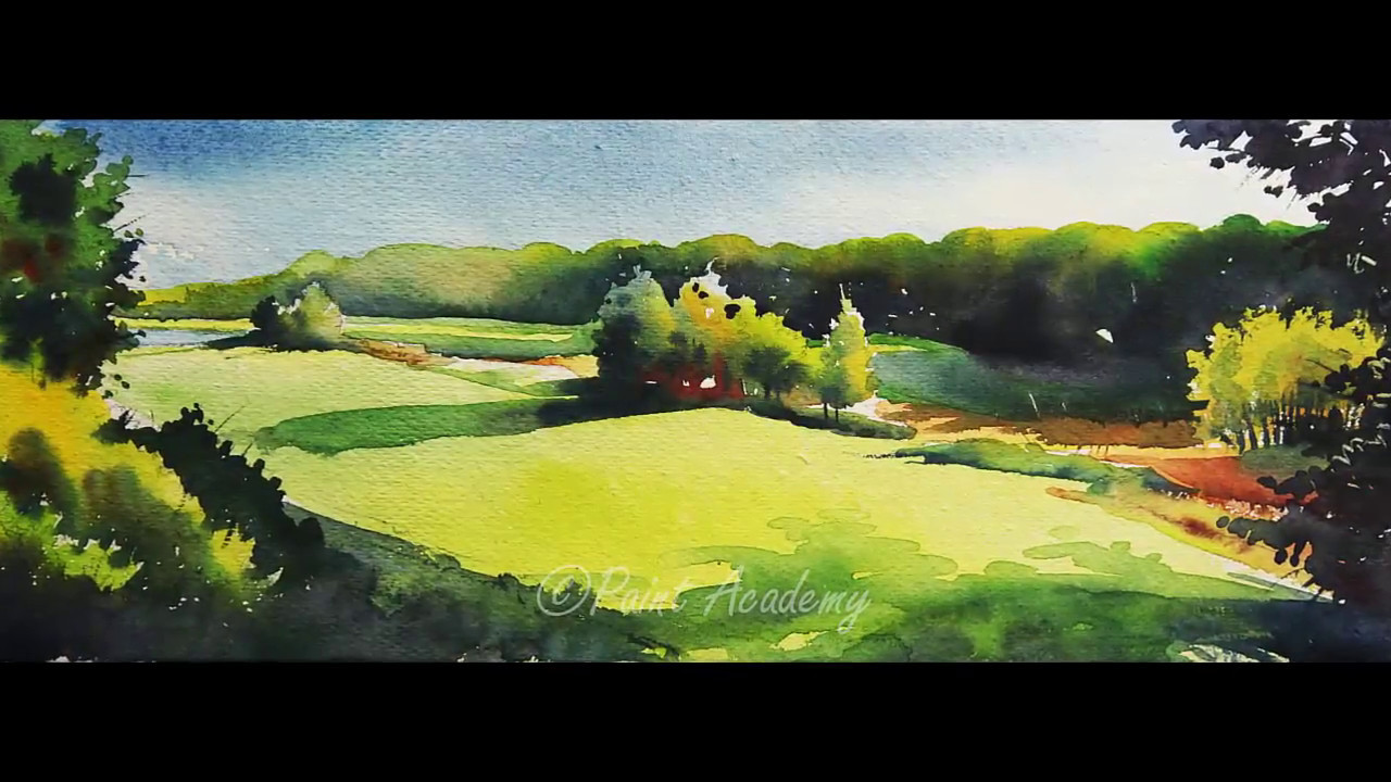 Watercolor landscape painting tutorial step by step youtube for Step by step painting tutorial