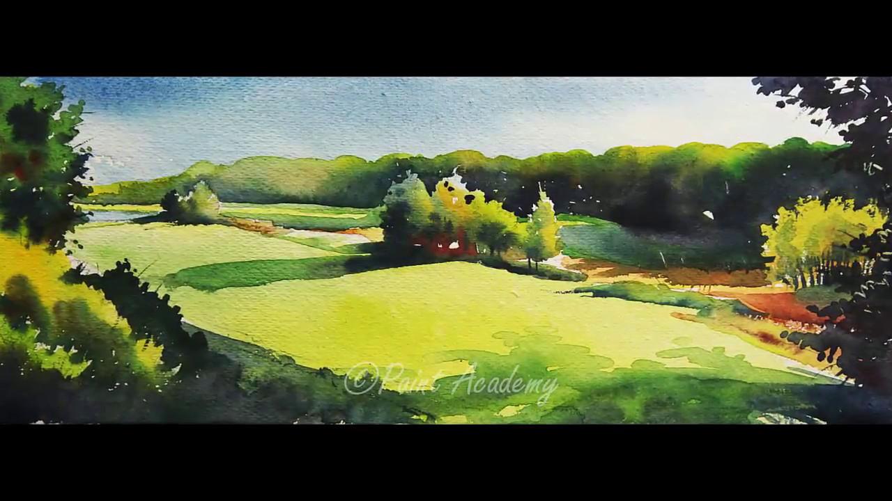 watercolor landscape painting tutorial