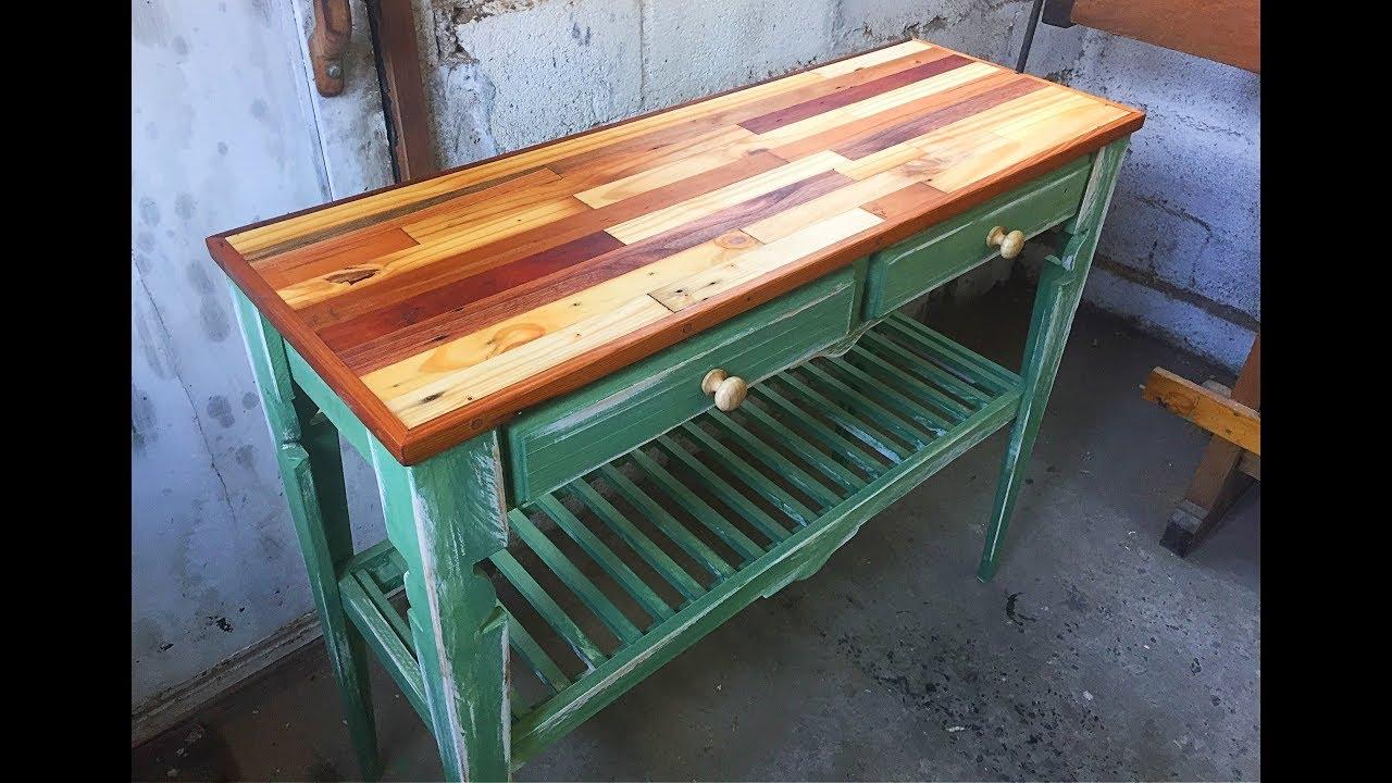 Mesa de arrimo con madera reciclada vintage hall table for Cosas con madera reciclada