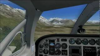 FSX Cessna 340 Carenado landing at Valdez Pioneer (PAVD) Cockpit view