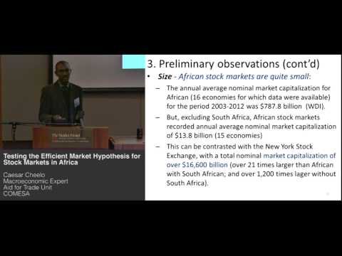 Caesar Cheelo - Testing the Efficient Market Hypothesis for Stock Markets in Africa