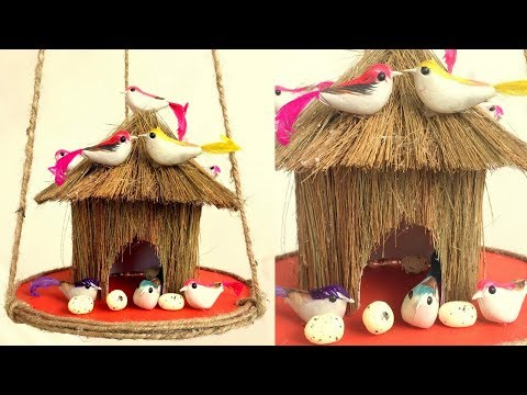 DIY - Beautiful Bird House from Waste Broomstick | Home Decoration from Waste Material | Reuse craft