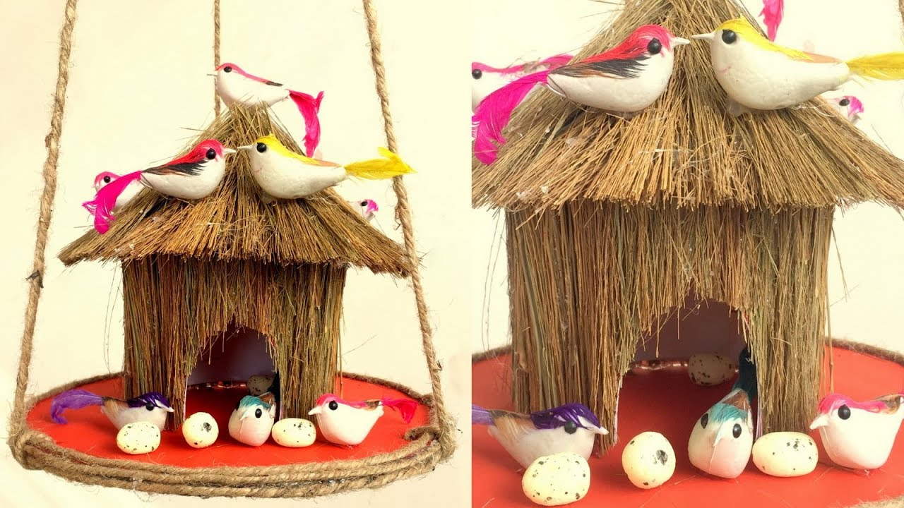 DIY - Beautiful Bird House from Waste Broomstick  Home Decoration from  Waste Material  Reuse craft